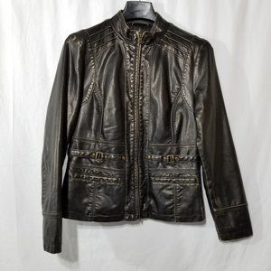 Cleo black faux leather jacket with gold distress